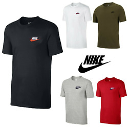 Nike Men's T-Shirt Athletic Active Wear Crew Neck Dry Fit Swoosh Futura Logo Tee $17.69