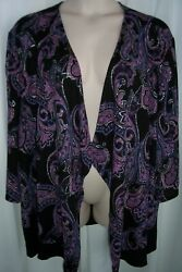 Catherines Plus 5X Black Purple Shimmer Paisley Cascading Open Front Knit Top $25.99