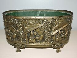 Antique French Jardinière Planter Embossed Brass With Insert Liner Centerpiece $120.00
