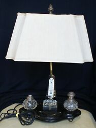 Antique Desk Lamp With Cut Crystal Inkwell Set & Obelisk Thermometer $49.99