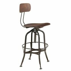 Metal Frame Bar Stool with Corkscrew Swivel Mechanism Gray and Brown $259.99