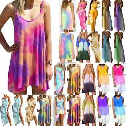 Womens Boho Tie Dye Casual Tie-dye Dress Summer Beach Party Holiday Sundress 5XL $20.61