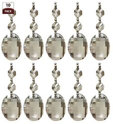 10 PK Chandelier Replacement Crystal Prisms Clear Oblate Cut $16.95