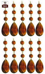 Chandelier Replacement Crystal Prisms Amber Almond Shaped Pack of 10 $18.95