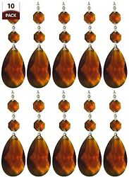 10 PK Chandelier Replacement Crystal Prisms Amber Almond $16.95