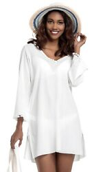 Women#x27;s Long Sleeve 100% Cotton Hooded Beach Cover Up White Size L NWT $27.99