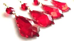 5 Red French Cut 50mm Chandelier Crystals Suncatcher Ornaments $15.99