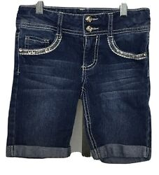 Girls#x27; Imperial Star Knee Length Jean Shorts Size 7 $12.99