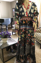 NWT JOHNNY WAS DUNAS PATCHWORK DIBBLE DRESS SILK BOHO PEASANT MAXI LARGE $550 $359.99