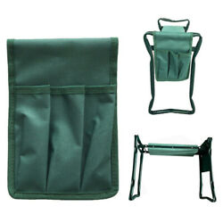 Garden Kneeler Seat Folding Portable Bench Kneeling Pad and Tool Pouch Outdoor $4.57
