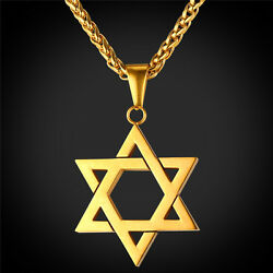 Star of David Pendant amp; Necklace Chain christian Israel Jewish Gold Plated $19.99