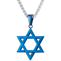 Star of David Pendant Necklace Chain christian Israel Jewish Blue Ion Plate $19.95