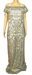 Tadashi Shoji 14 Nude Gold Corded Embroidery on Tulle Cap Sleeve Gown Womens New