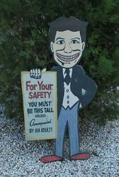 Antique Rustic Style Coney Island Tillie Wood Cut Out Amusement Ride Sign 4ft $175.00