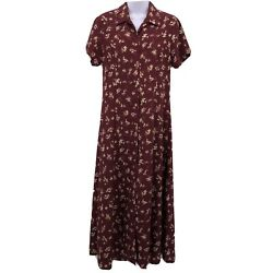 County Seat Sz S Maroon Floral Button Front Long Maxi Dress Short Sleeve Modest $12.99