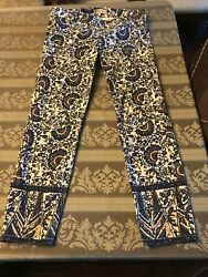 TORY BURCH IZZY FLORAL FLAT FRONT SKINNY CROPPED ANKLE JEANS SIZE 30 $59.00