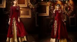 Indian Ethnic Designer Kurta Skirt Silk embroidery Party wear Long dress Girl $184.44