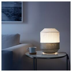 Modern Small Table Lamp White Gray 13quot; Spreads Diffused Light Ikea Majorna New $11.99