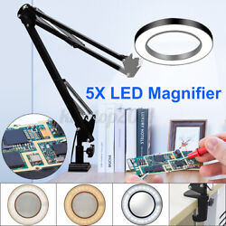 Flexible Desk Magnifier 5X USB LED Magnifying Glass Lamp Loupe Reading Rework US $34.49