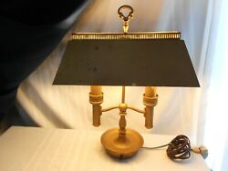 Vintage HEAVY Brass Metal Bouillotte Style Desk Lamp BRASS Shade double Candle $48.00