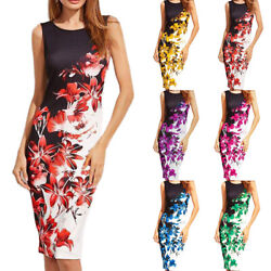 Womens Summer Sleeveless Floral Print Midi Dress Casual Party Sundress Loose New $15.29