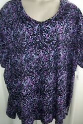 Catherines Plus 5X 34 36W Black Purple Extra Long Knit Top Tunic NWT $18.99