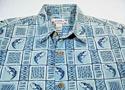 SUMMA Bass Fishing Mens Size LARGE Cotton Sport Shirt Shortsleeve Blue $9.88