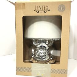 Levtex Baby Owl Silver Lamp Base and Shade 15quot; Baby Infant Decor with Bulb DENTS $32.08