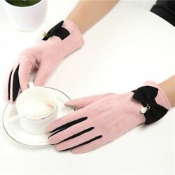 Stylish Winter Cute Bow Pearl Gloves Women Warm Mittens Outdoor Fashion Riding $12.93