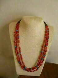 Vintage Native American Navajo Necklace Natural Red Coral And Turquoise