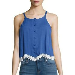 Lovers + Friends Front-Button Sleeveless Top  Periwinkle Size Medium NWT