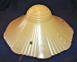 Antique Light Yellow Flared Glass 3 Chain Ceiling Hanging Light Fixture Shade $15.99
