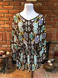Love Shop Beach Sheer Abstract Colorful Beaded Summer Cover Up Tunic Shirt ML  $29.70