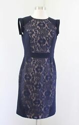 Adrianna Papell Navy Blue Nude Lace Illusion Sheath Dress Cocktail Size 4 Floral $34.99