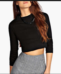 Brandy Melville Veronica Ribbed Black Long Sleeve Top RARE