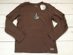 Life Is Good Womens Size Small Brown Long Sleeve Crusher OUT ALL NIGHT New $15.99