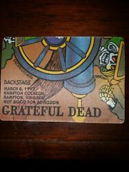 Grateful Dead BACKSTAGE PASS 03 06 1992 HAMPTON VA THE MOTHERSHIP