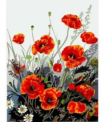 Red Poppy Flower Diy Canvas Painting Art Acrylic Number Kits Wall Adults Gift $19.29