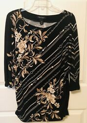 White House Black Market Womens Top 34 Sleeve Chain Pattern Ruched Size M EUC $14.99