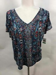 INC International Concepts Blue Detached Sleeve Embellished Casual Shirt Size L