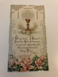 Maison Jeune Antique Holy Card St. Theresa POVERTY CHASTITY OBEDIENCE Paris $5.00