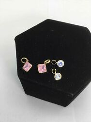 14K Yellow Gold Lot of 4 Pink/White Crystal Pendants (2.9g) $9.99
