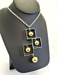 NICE VINTAGE MOD 1960s NECKLACE MODERNIST SILVER GOLD TONE LONG ACT II $9.99