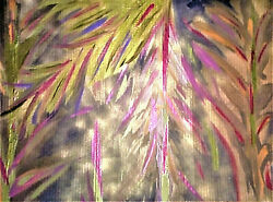 PAINTING #x27;IN A GOLDEN FOREST#2#x27;ACRYLIC24K GOLD PAINTCARDBOARDFREE SHIPPING $400.00