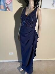 "Vince Camuto Size 6 Navy Blue Sequin Maxi Dress Length 59"" $49.00"