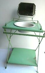 French toy dressing table painted metal mirror: 1900 doll furniture $140.00