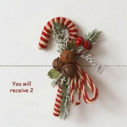Set of 2 CANDY CANES w Rusty Bells NEW with Vintage Look Christmas $10.95