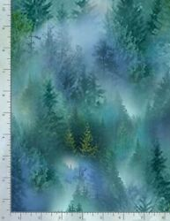 Nature Fabric Evergreen Pine Tree Forest Scene Multi Timeless Treasures YARD $11.93