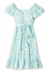 Love shack fancy For Target Estelle Puff Sleeve Dress Blue Size 4 Womens Floral $109.99