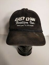 East Lynn Fertilizer Inc. Black Corduroy Full Back Trucker Hat Illinois $7.99